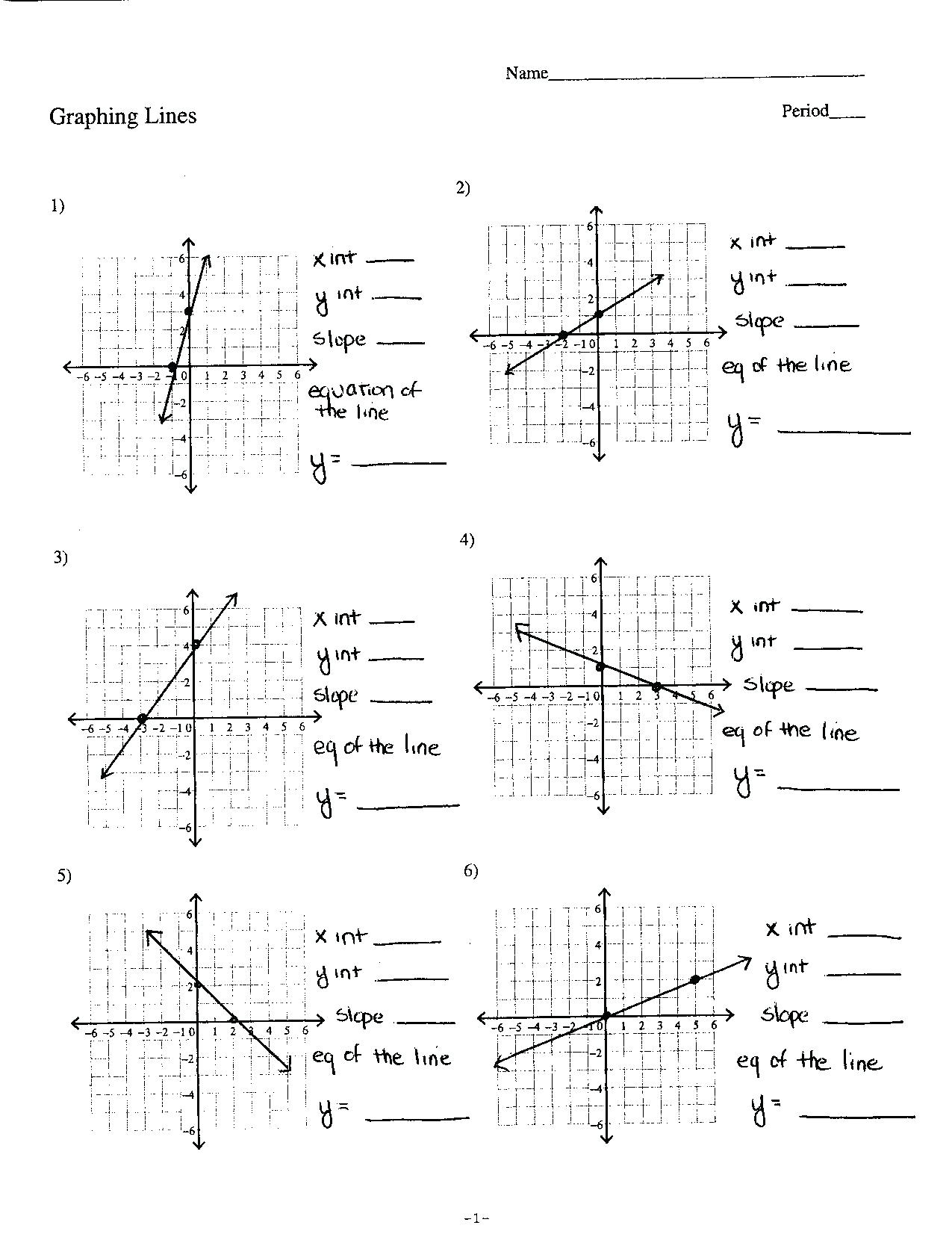 Form Ard Linear Equation Word Problems Graphing Equations