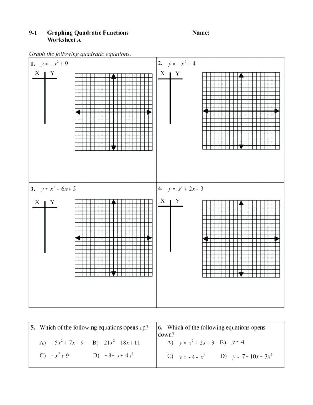 Form Graphing Quadratics In Tandard Worksheet Parabolas