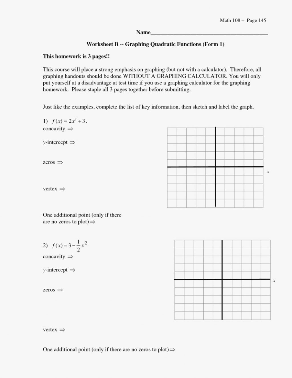 Form Graphing Quadratics In Tandard Worksheet Parabolas