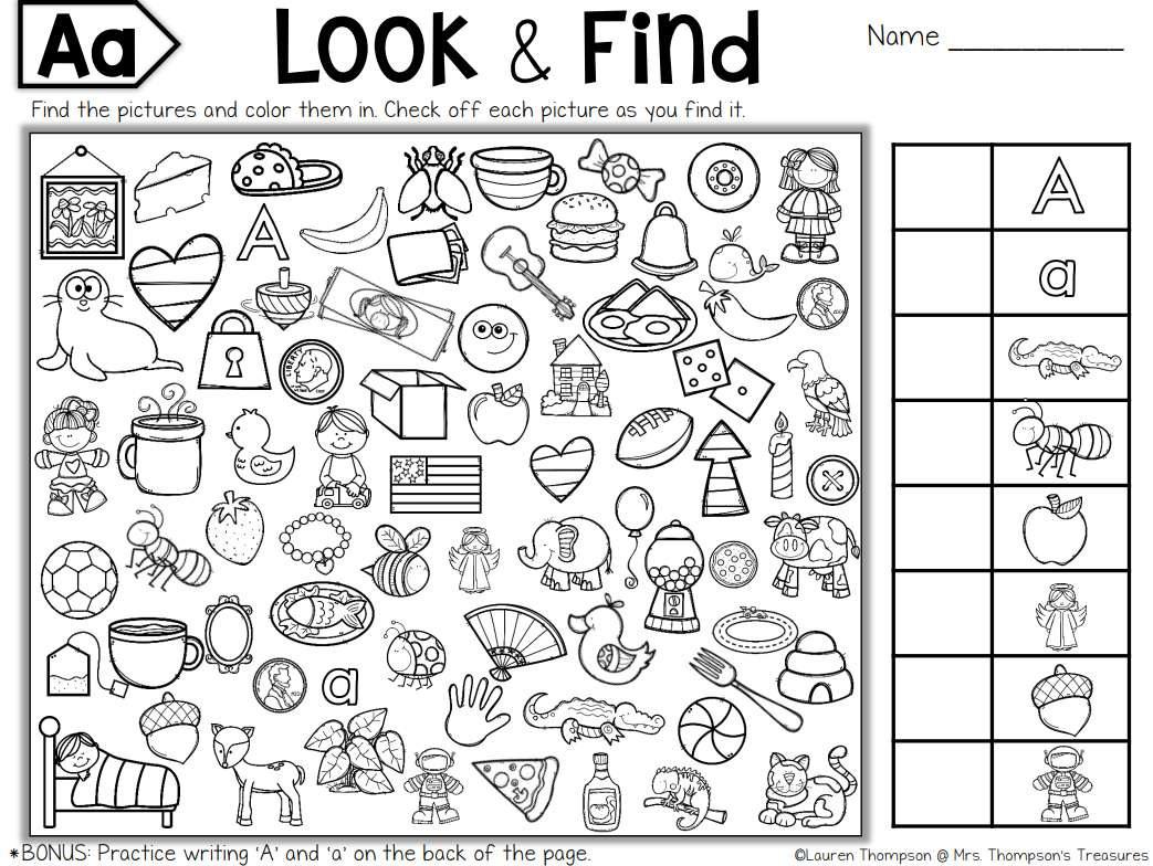 Hidden Objects Worksheets