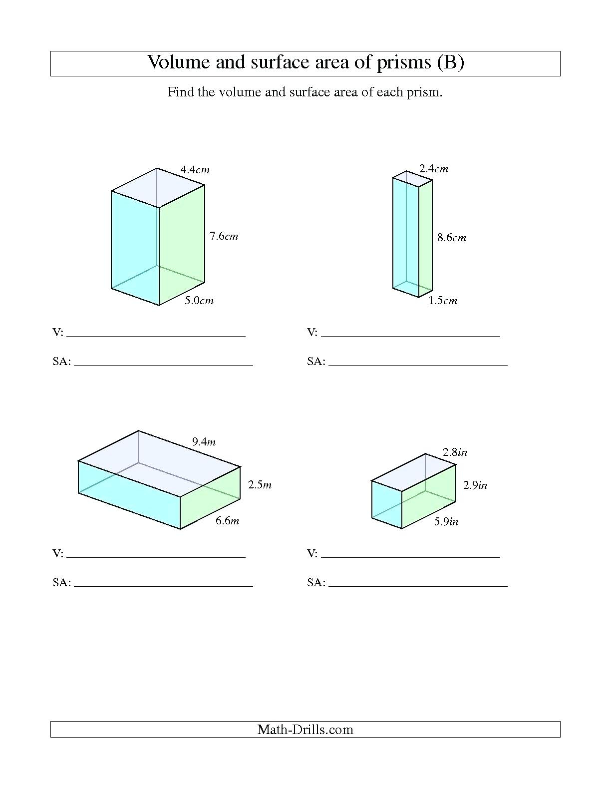 Free Printable Volume Worksheets Superpageco
