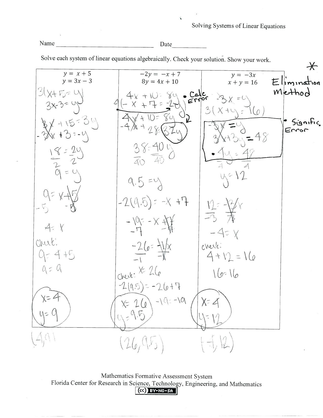 Free Worksheets For Linear Equations Fiestaprintco