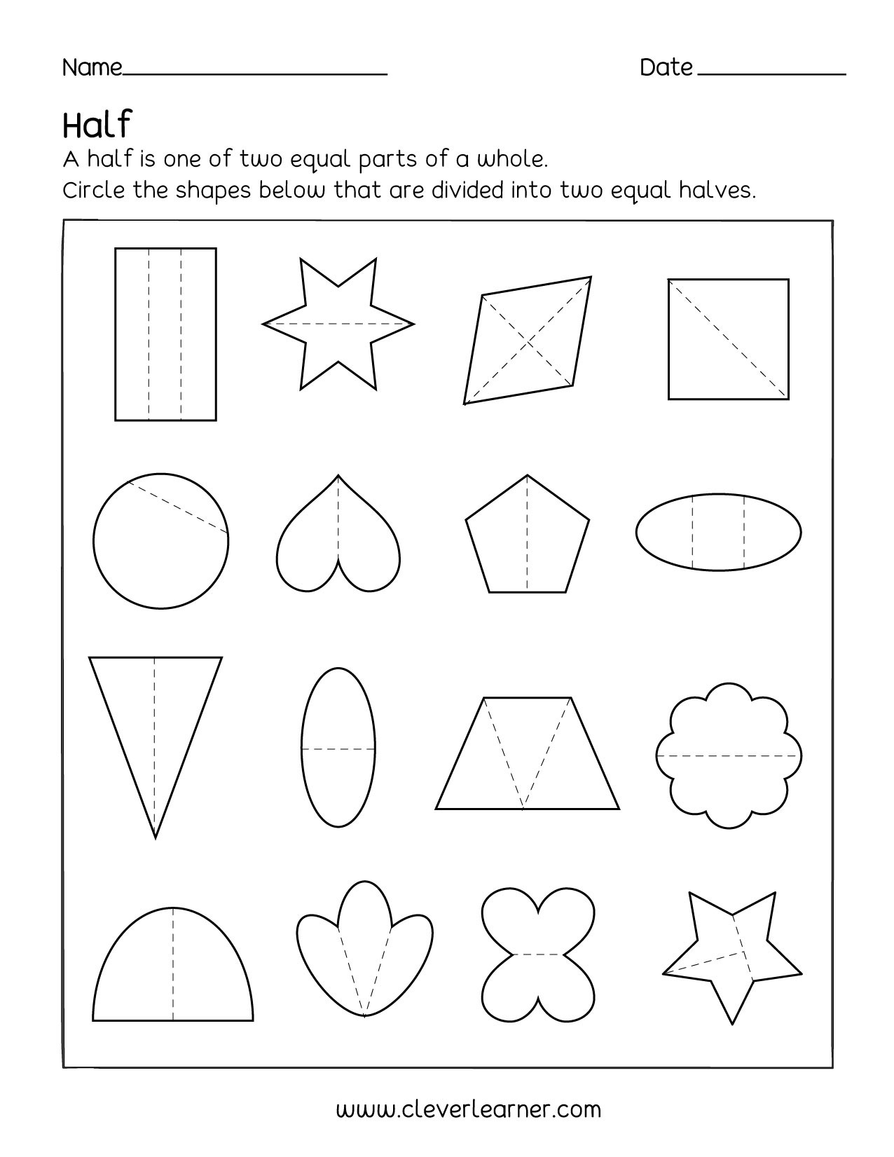 Dividing Shapes Into Equal Parts Worksheet