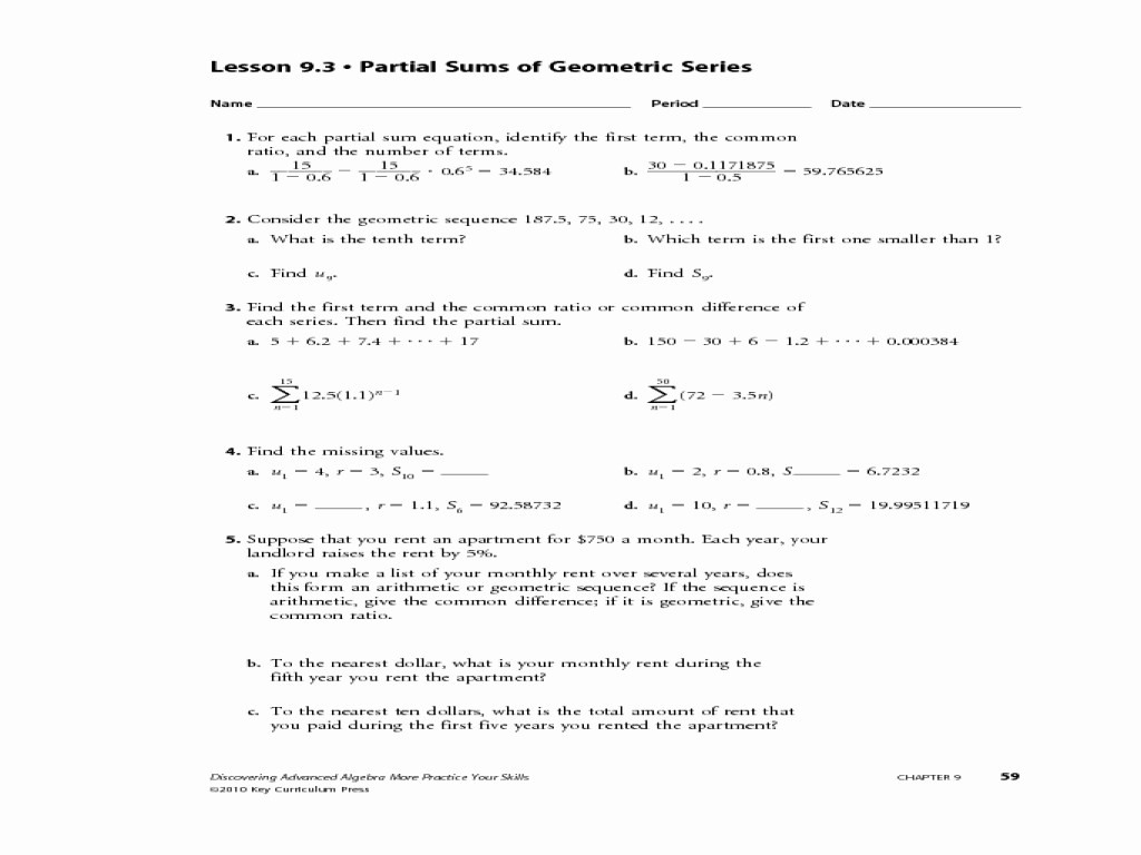 General Sequences Worksheet Answers