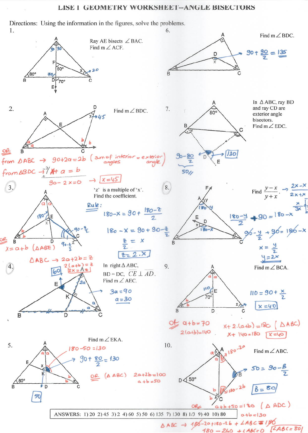 Angle Bisector Worksheet Answer Key