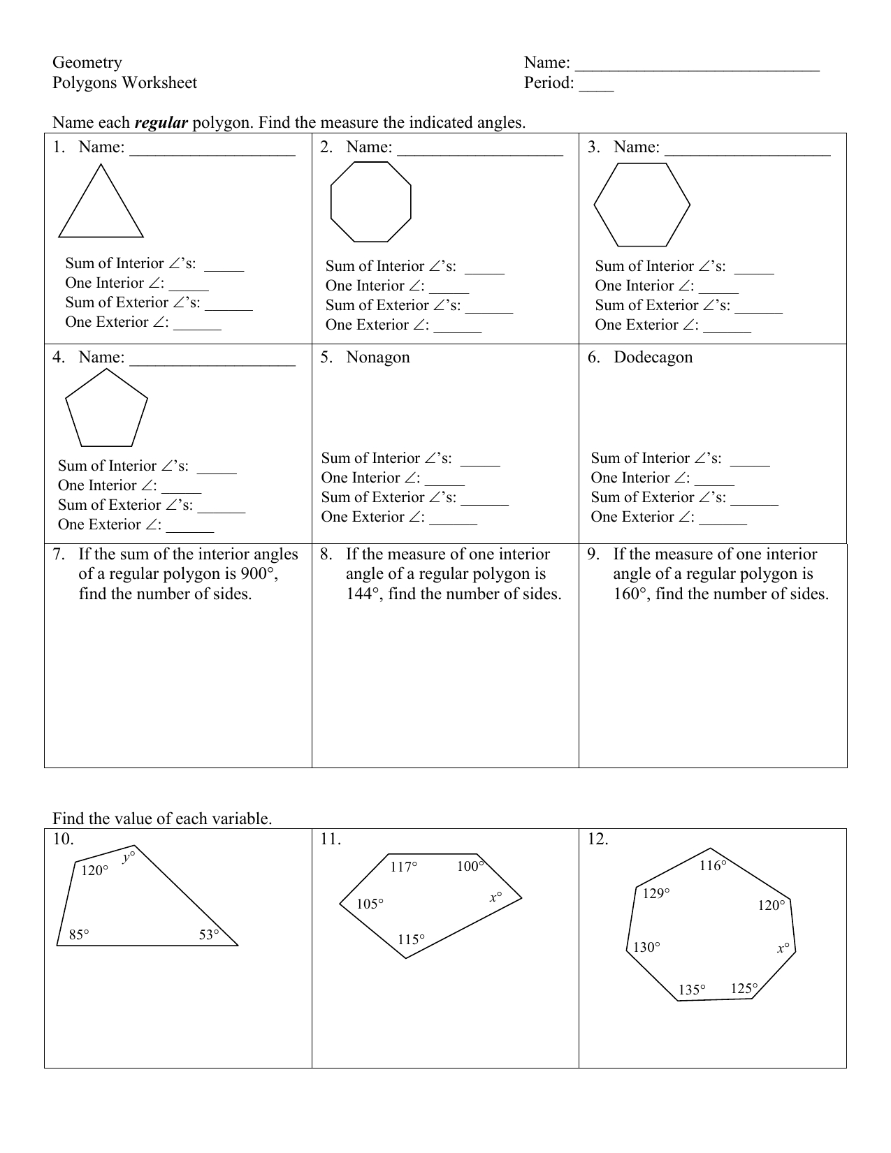 Geometry Name Polygons Worksheet Period Name Each