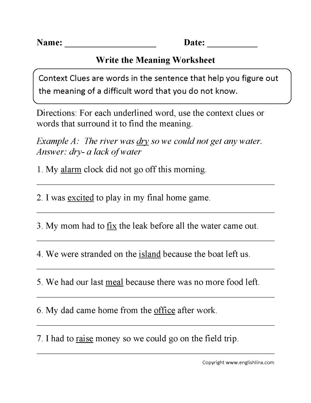 medium resolution of Sample Worksheet For Context Clues   Printable Worksheets and Activities  for Teachers