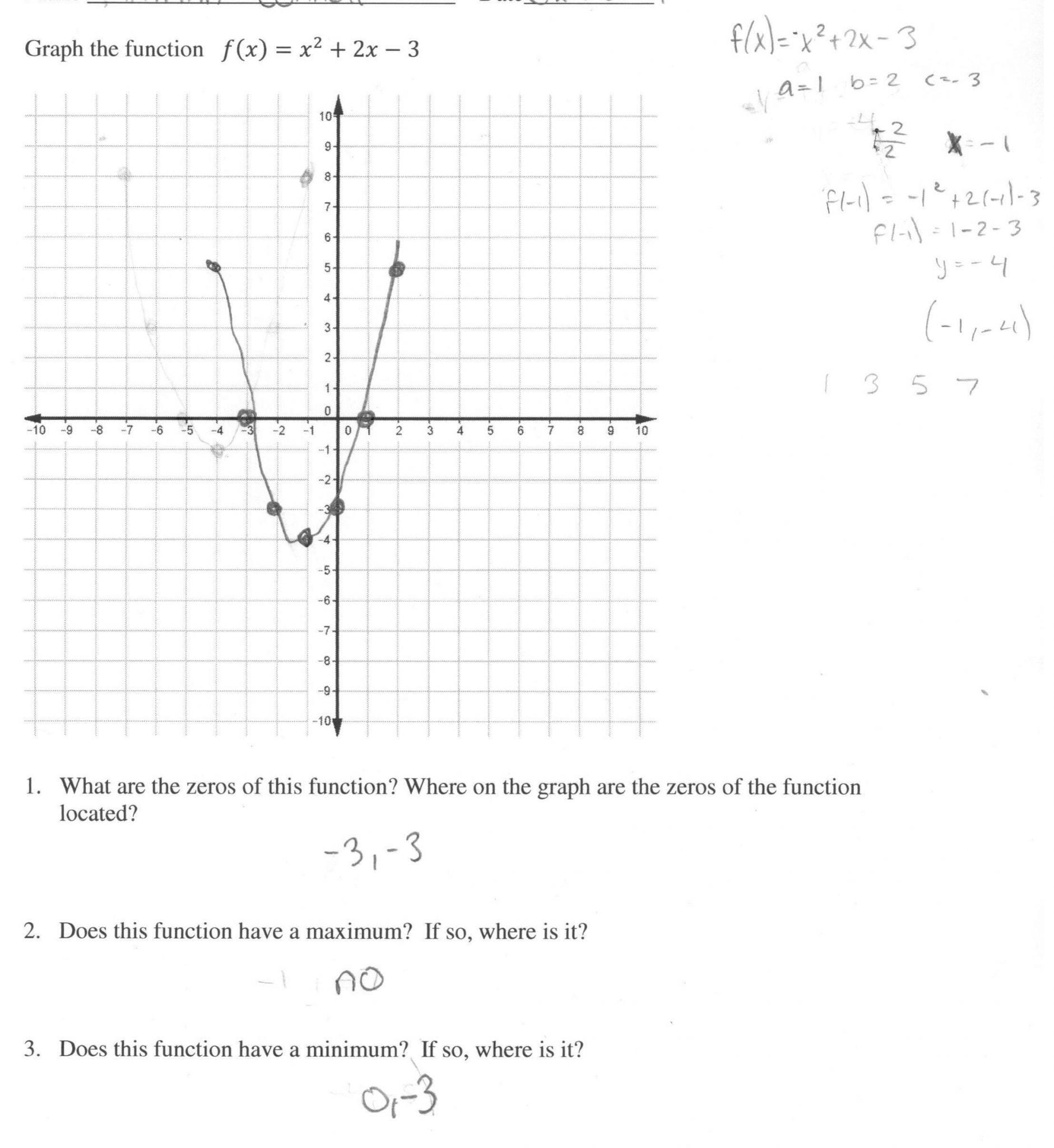 Graphing Quadratics Review Worksheet Answers