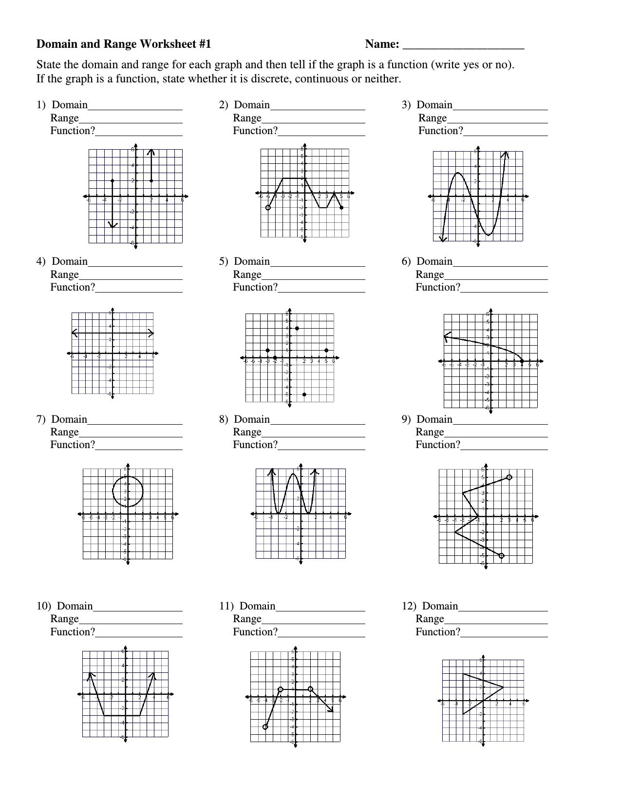 Graphing Rational Functions Worksheet 1 Horizontal