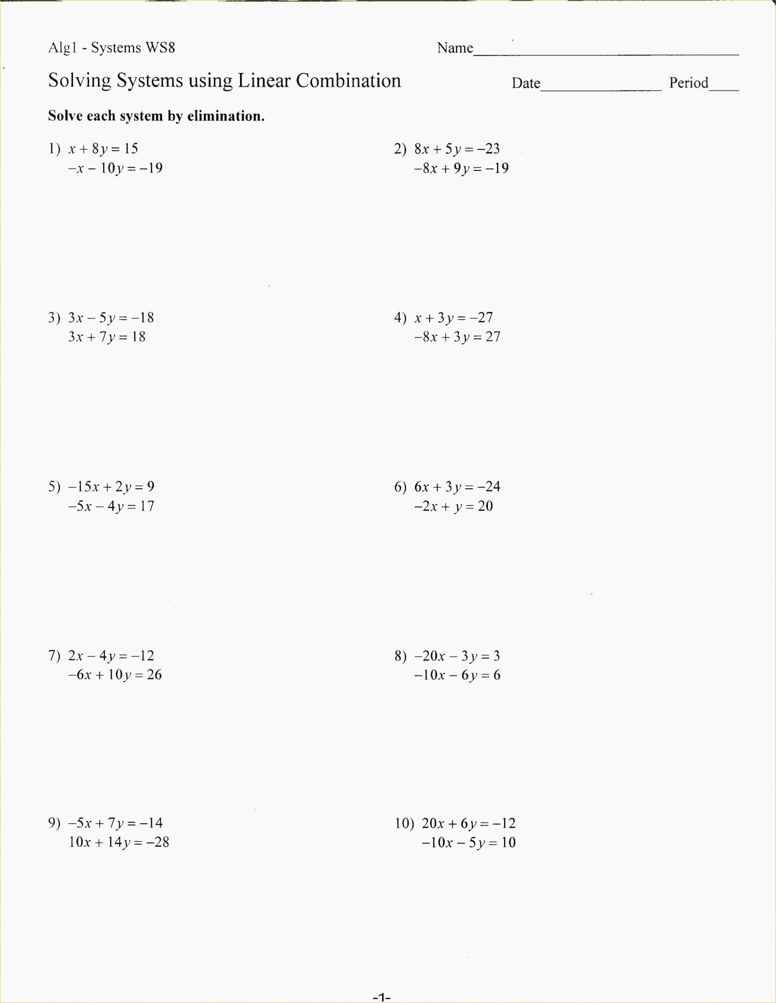 Graphing Systems Of Equations Worksheet Answer Key