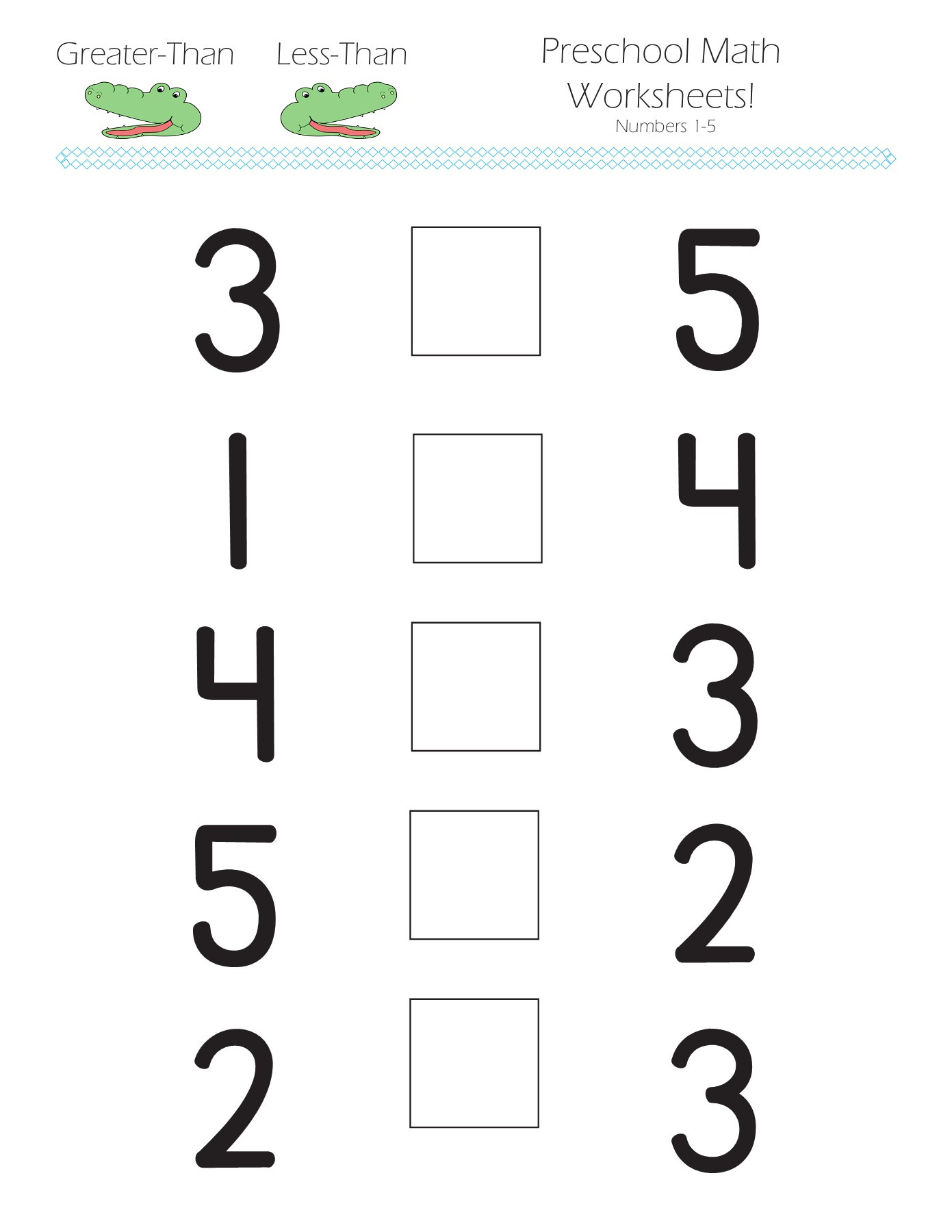 Greaterthan Lessthan Preschool Math Worksheets