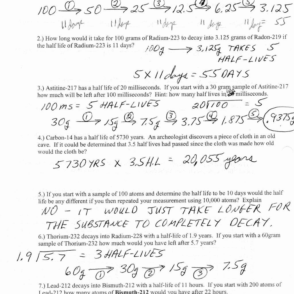 Half Life Calculations Worksheet Answers