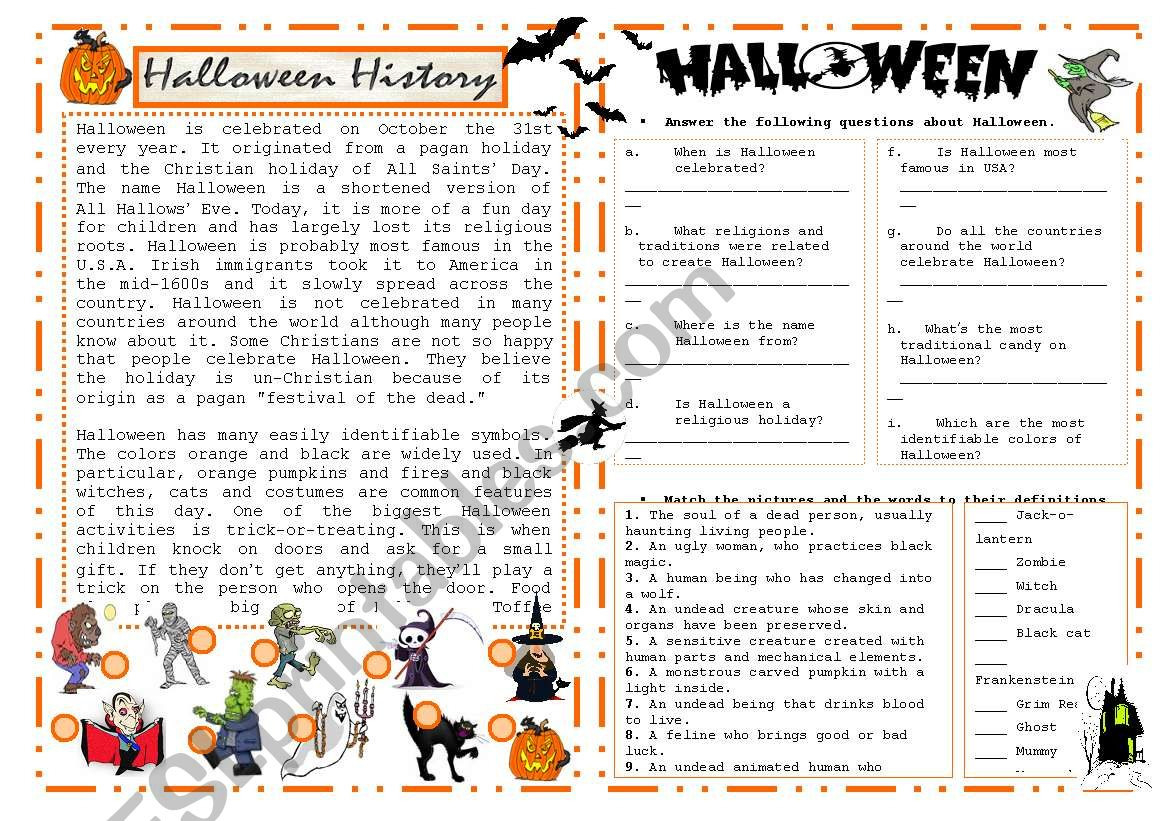 History Of Halloween Worksheet Answers