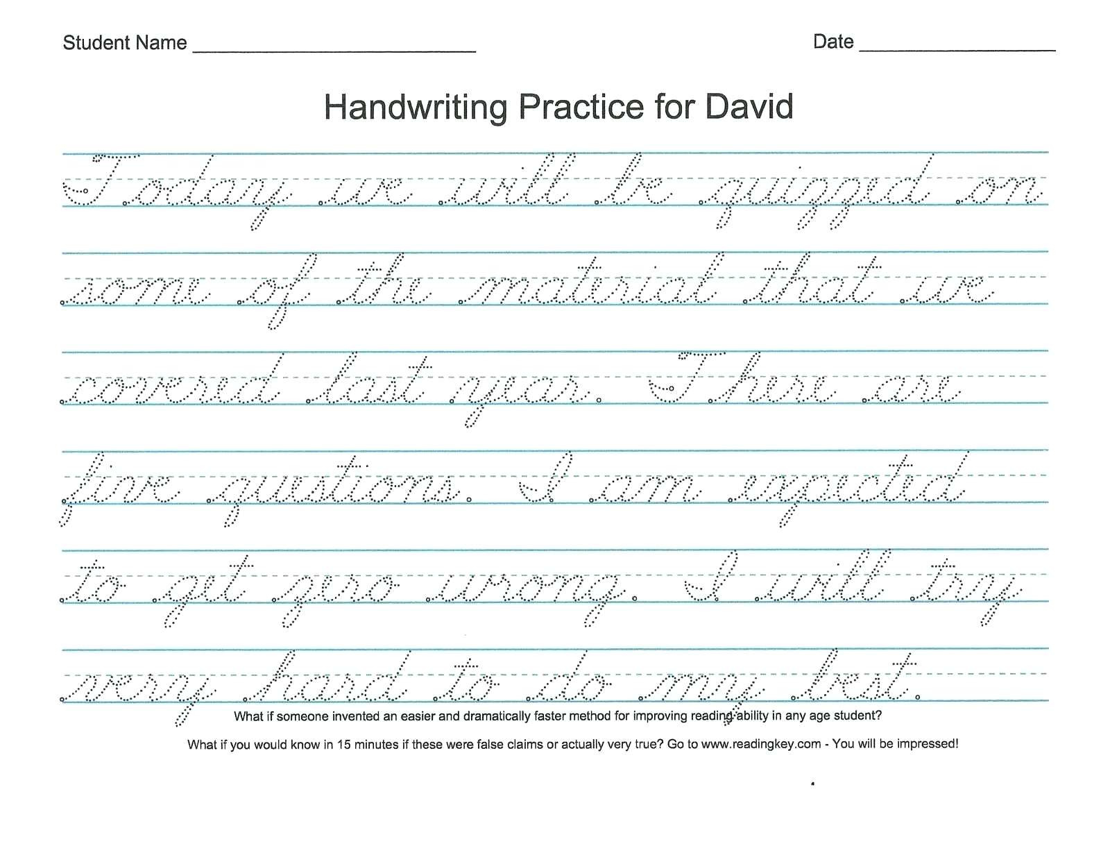 Handwriting Worksheets Name
