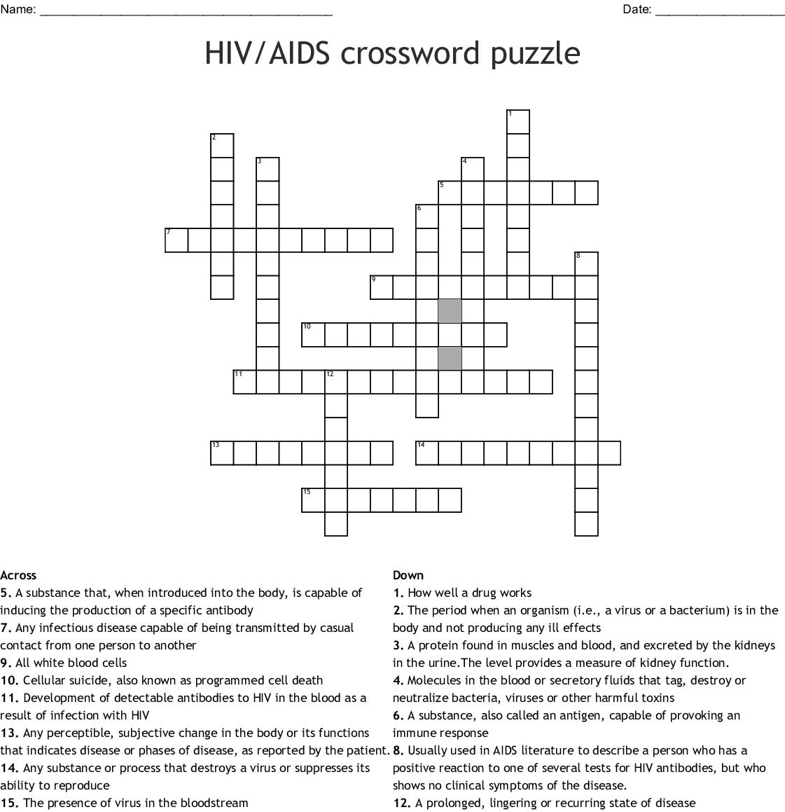 Hivaids Crossword Puzzle Word