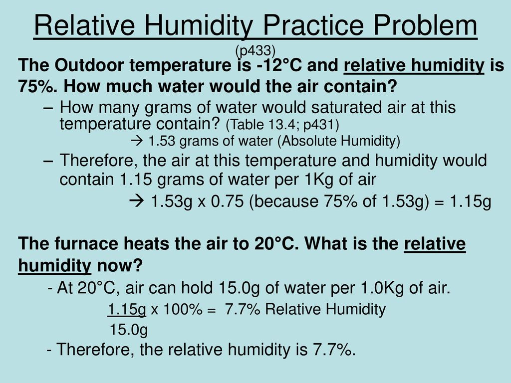 Relative Humidity Practice Problems Worksheet Answers