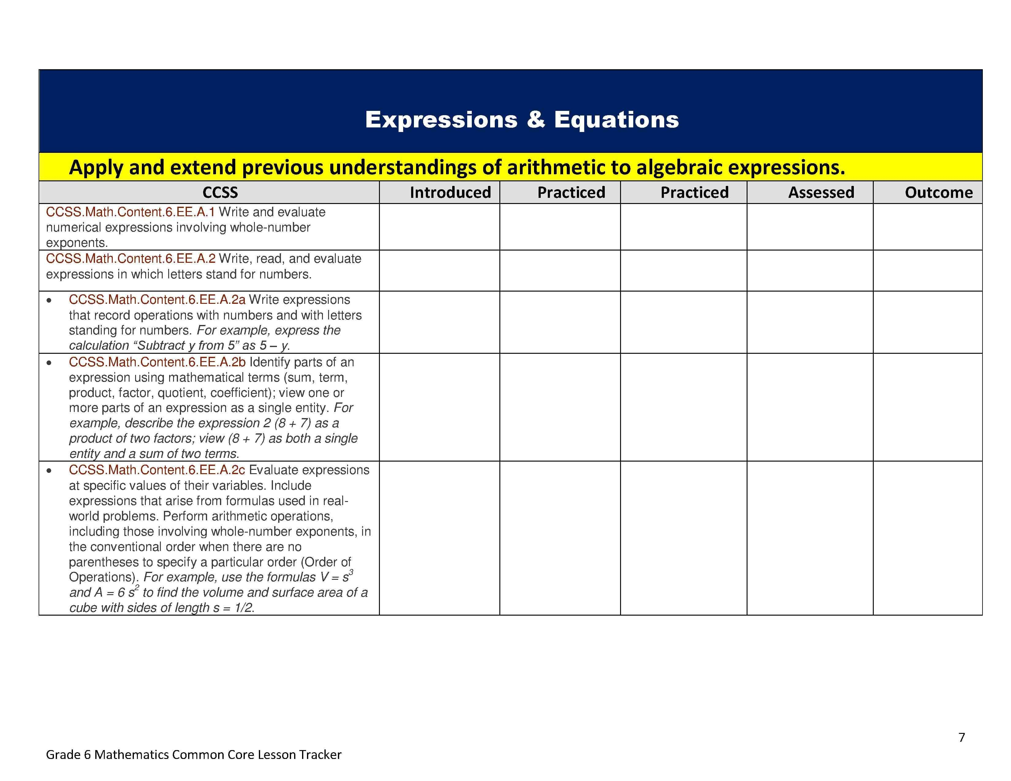 Ideas Of Mon Core Worksheets Evaluating Expressions For