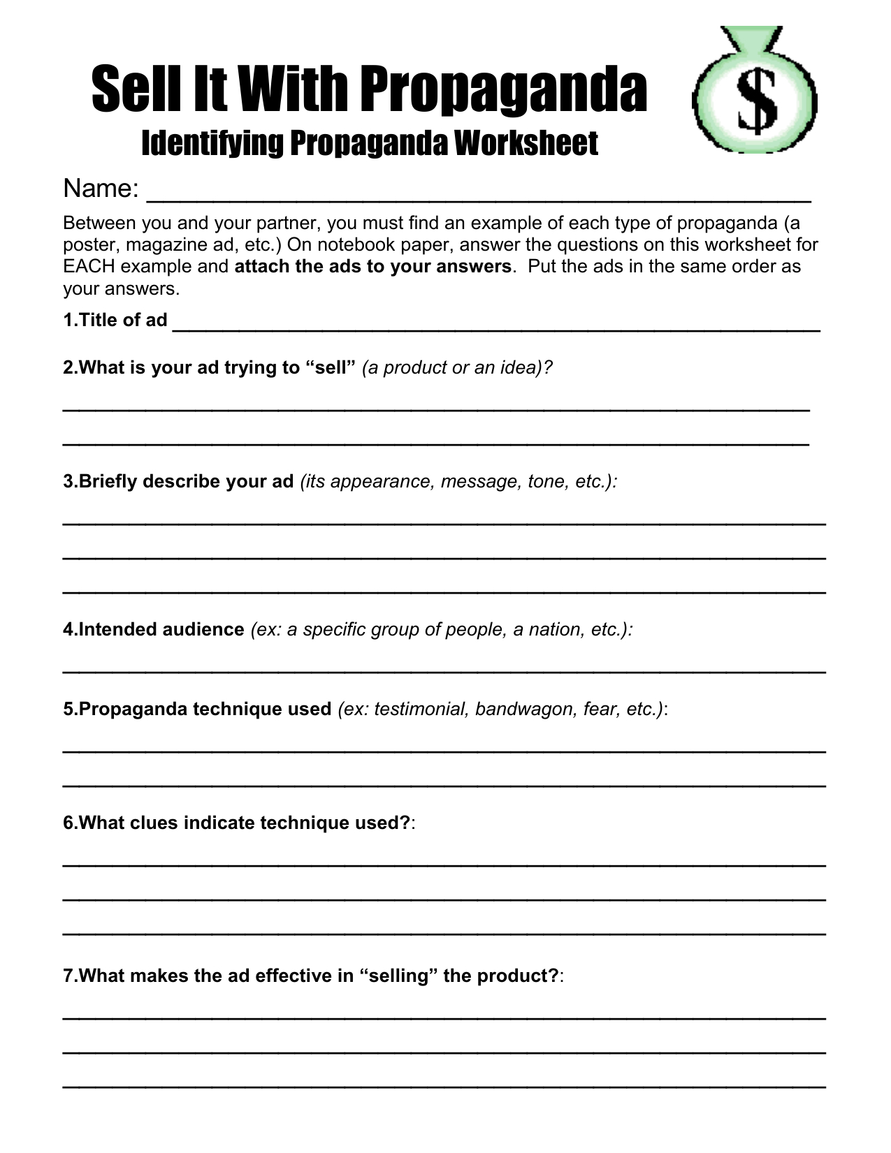 Identifying Propaganda Worksheet