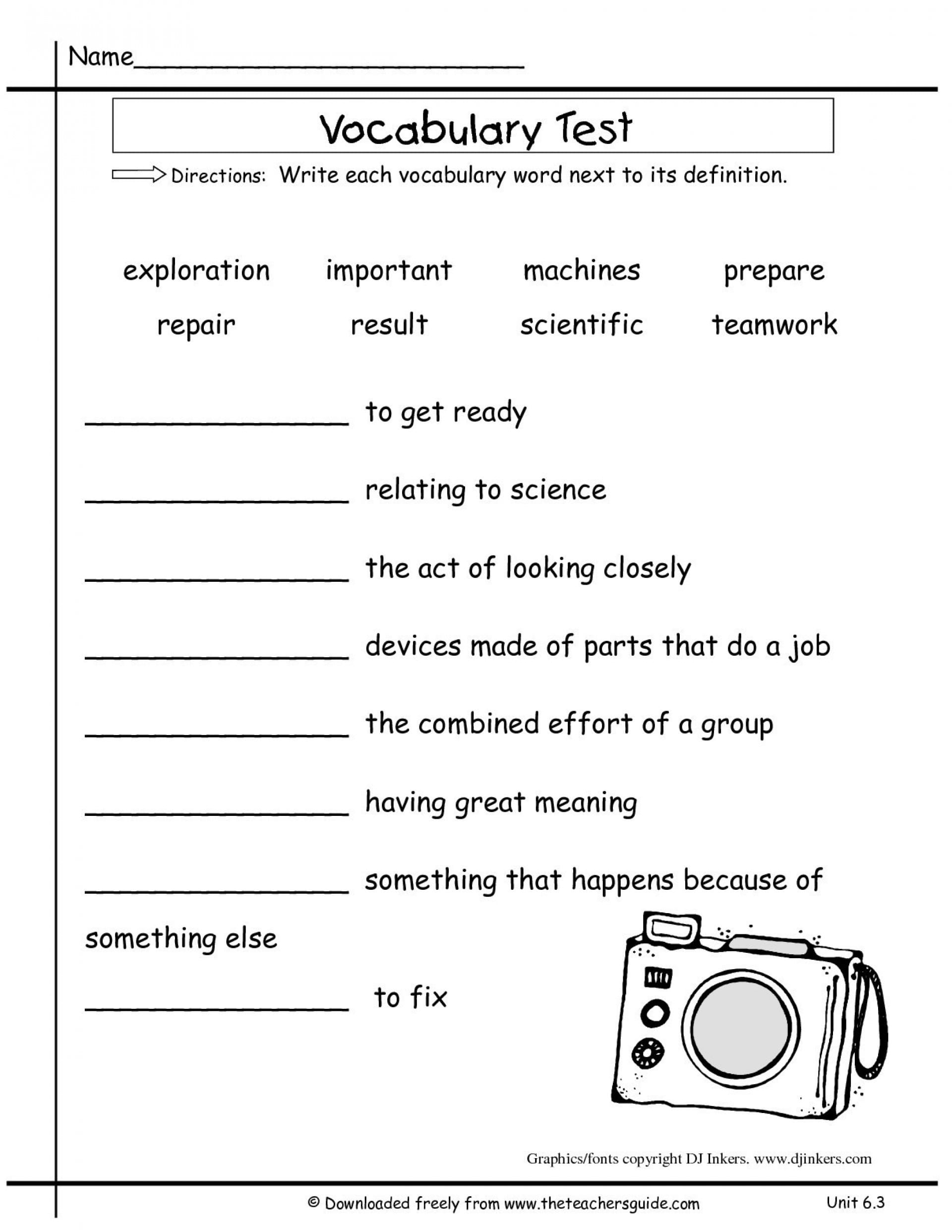 6th Grade Vocabulary Worksheets