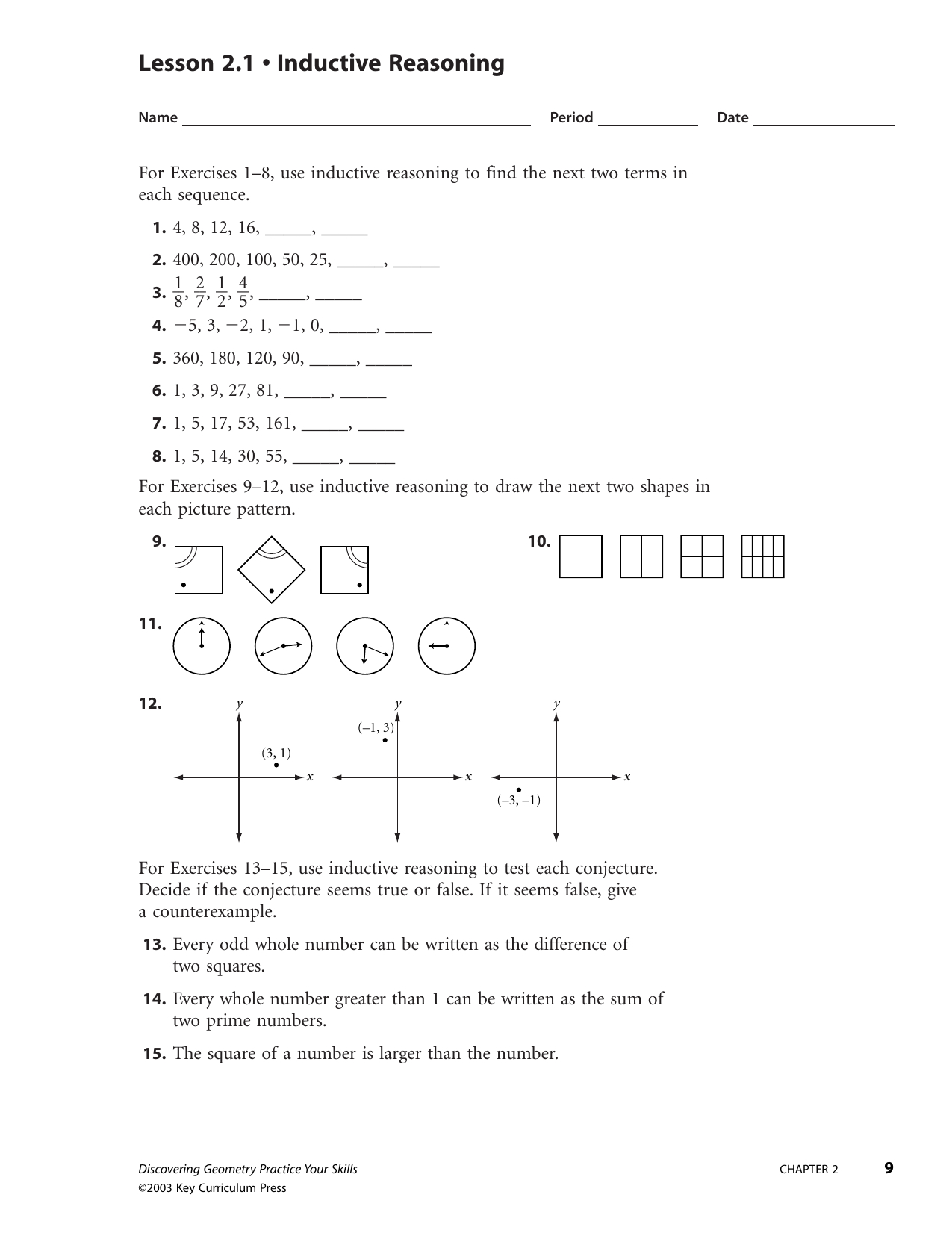 Patterns And Inductive Reasoning Worksheet And Answers