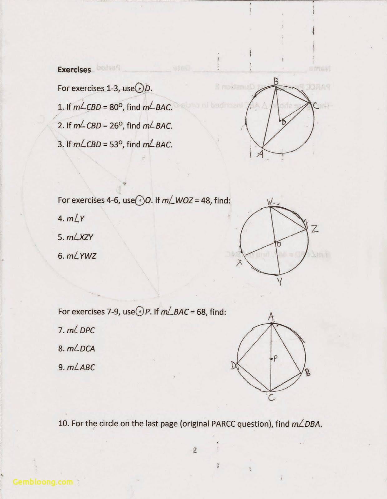 Inscribed Angles Worksheet Cramerforcongress