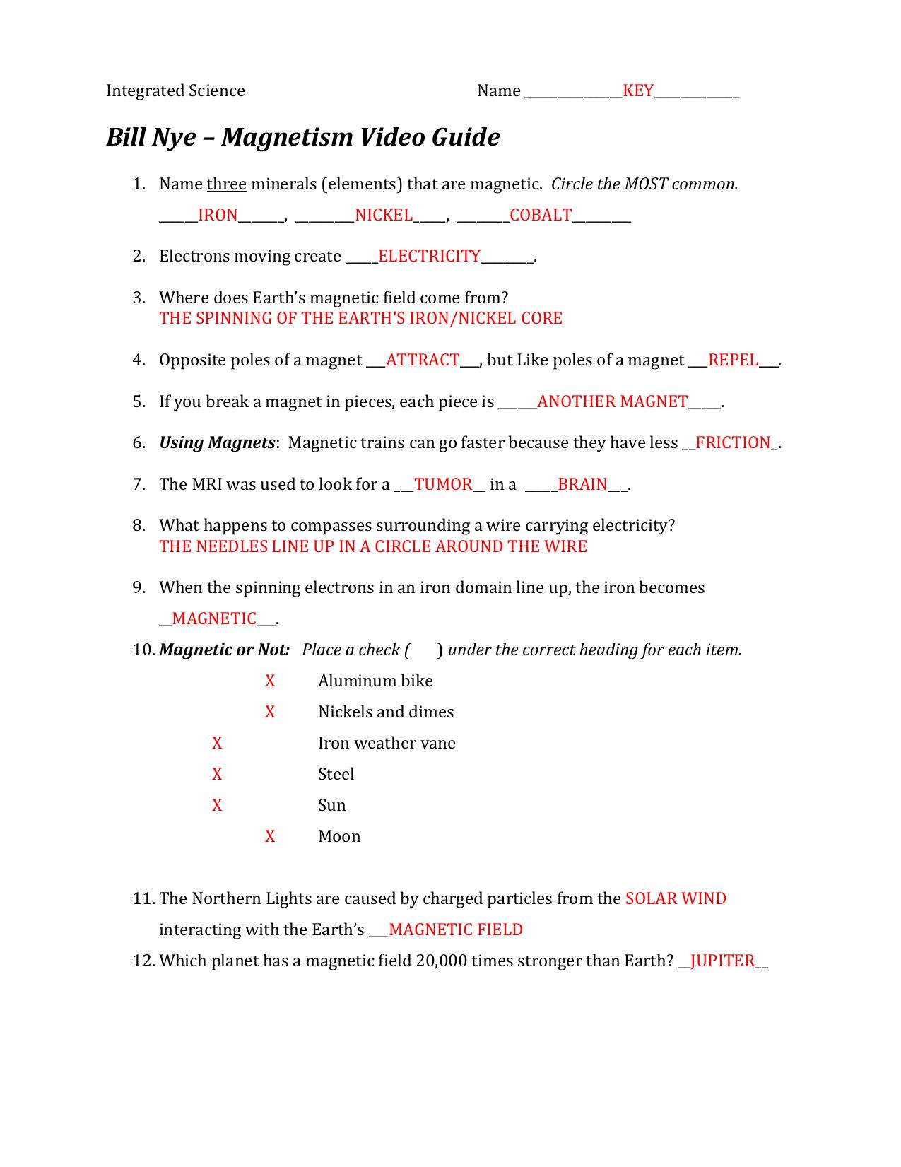 Bill Nye Magnetism Worksheet Answers Db Excel