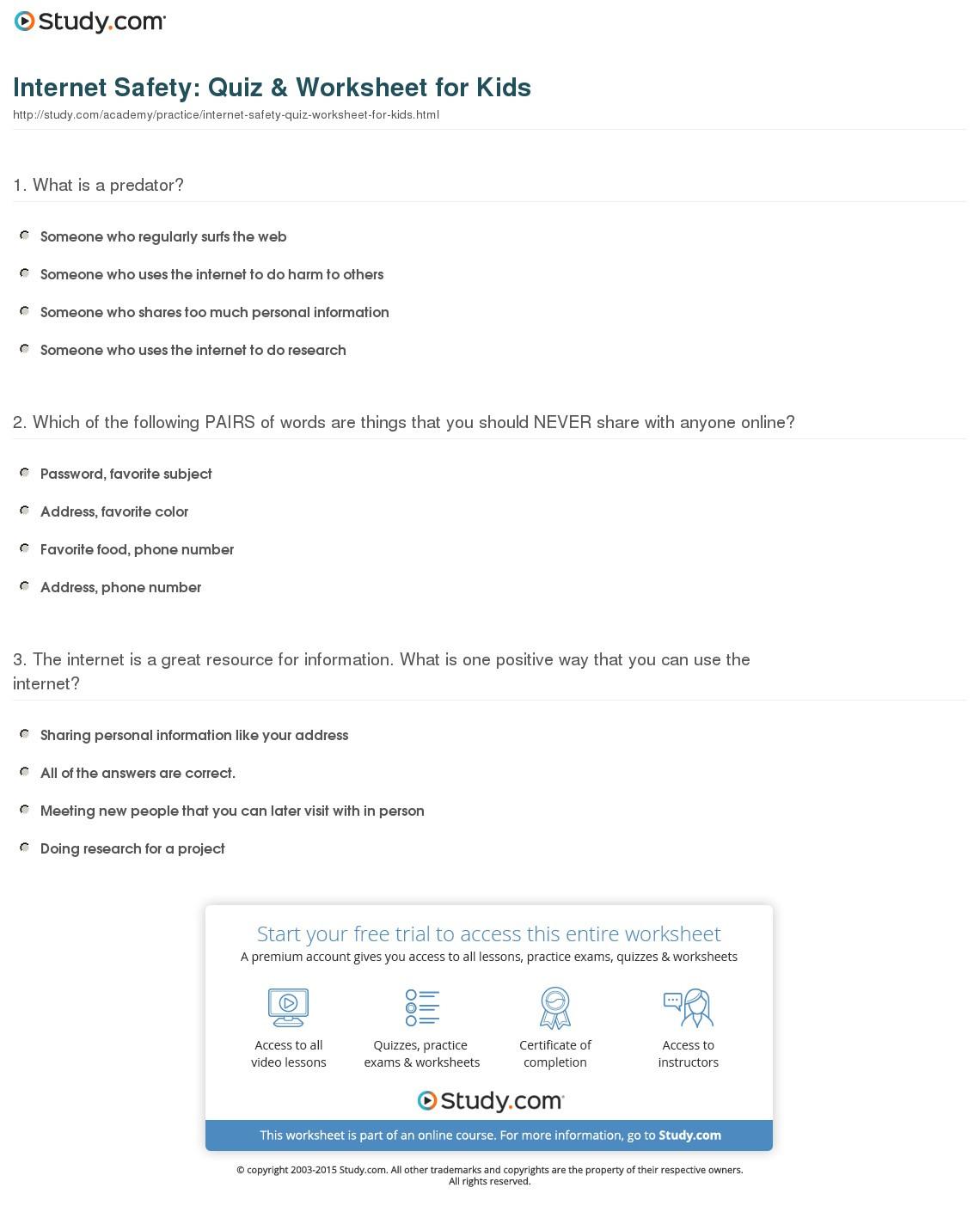 Internet Safety Worksheets For Kids