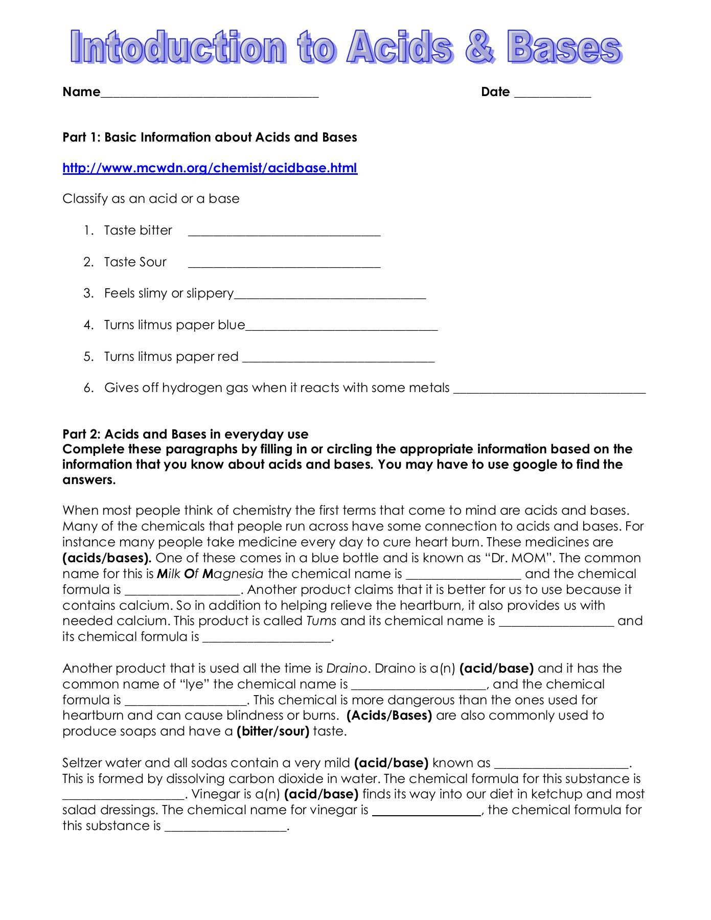 Intro To Acids Bases Worksheet Cathedral Irish Pages 1