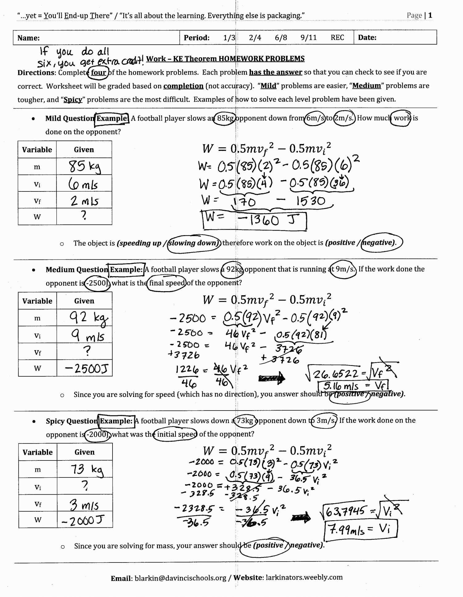 Kinetic And Potential Energy Problems Worksheet Answers