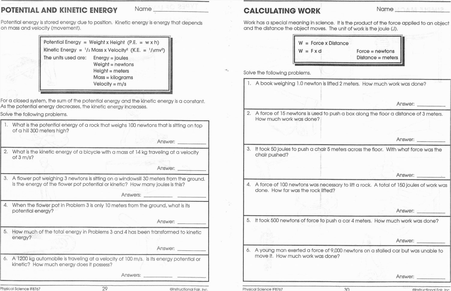 Kinetic And Potential Energy Worksheet Answers Second