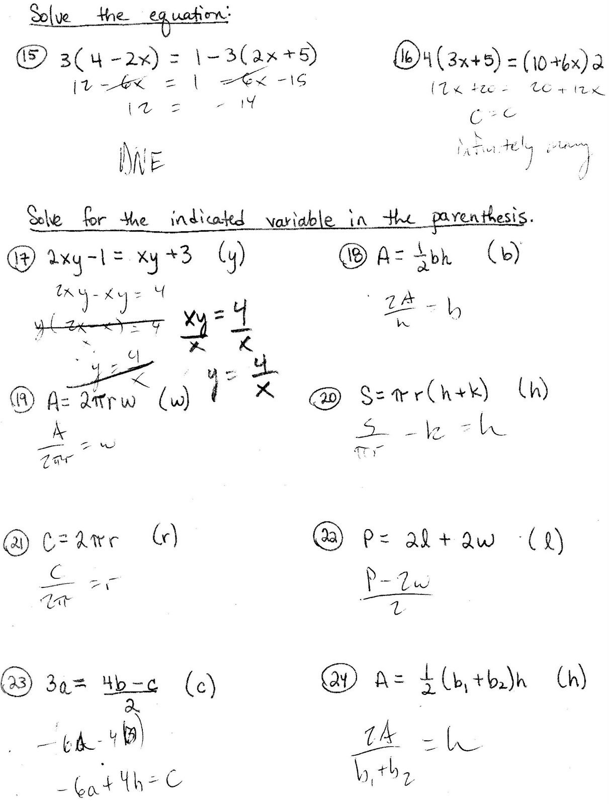 Literal Equations Worksheet Answer Key With Work