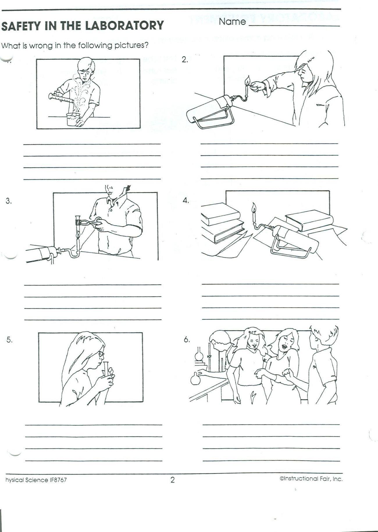 Lab Safety Worksheet Elementary