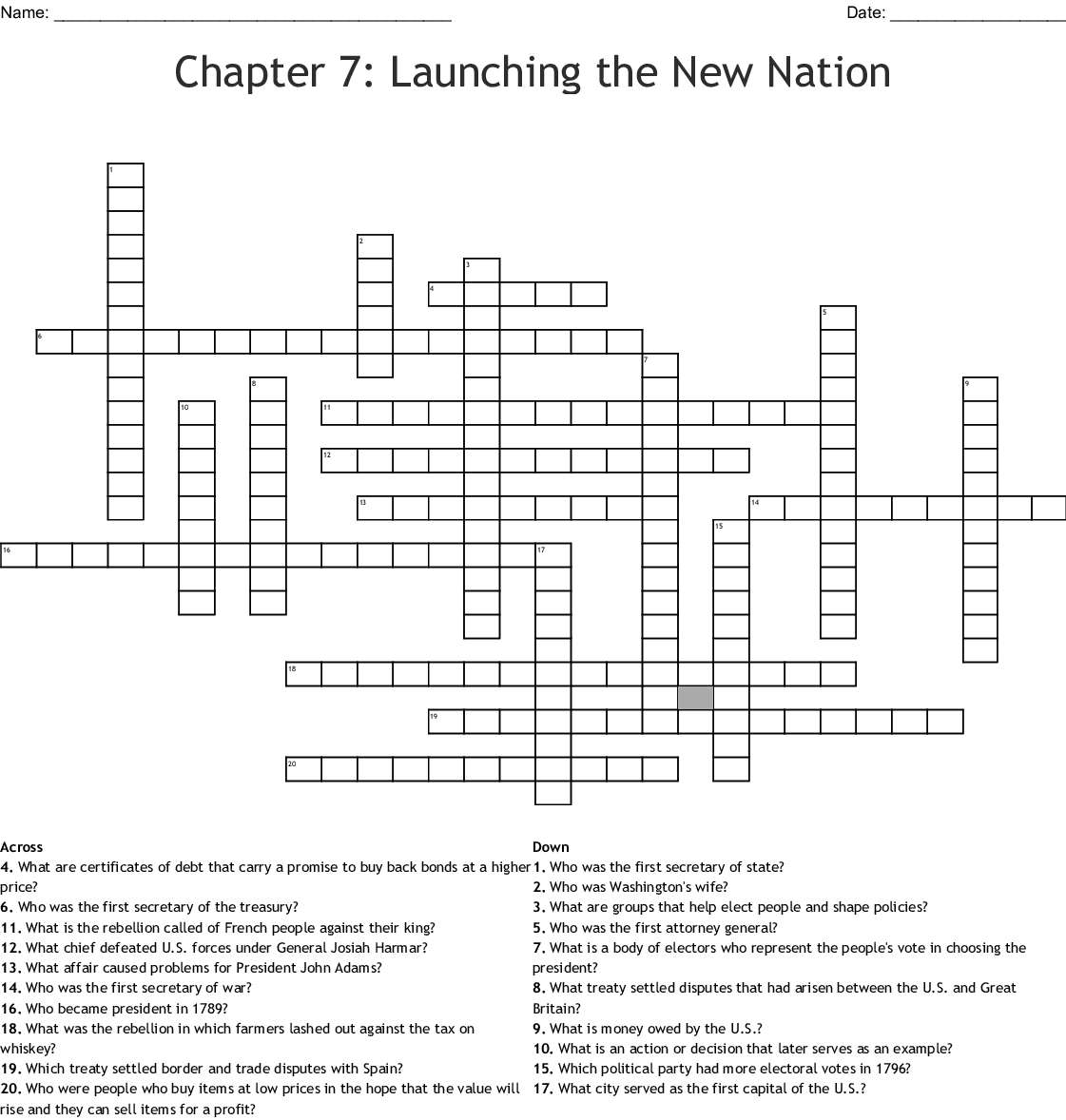 Launching A New Nation Ch 7 Crossword Word
