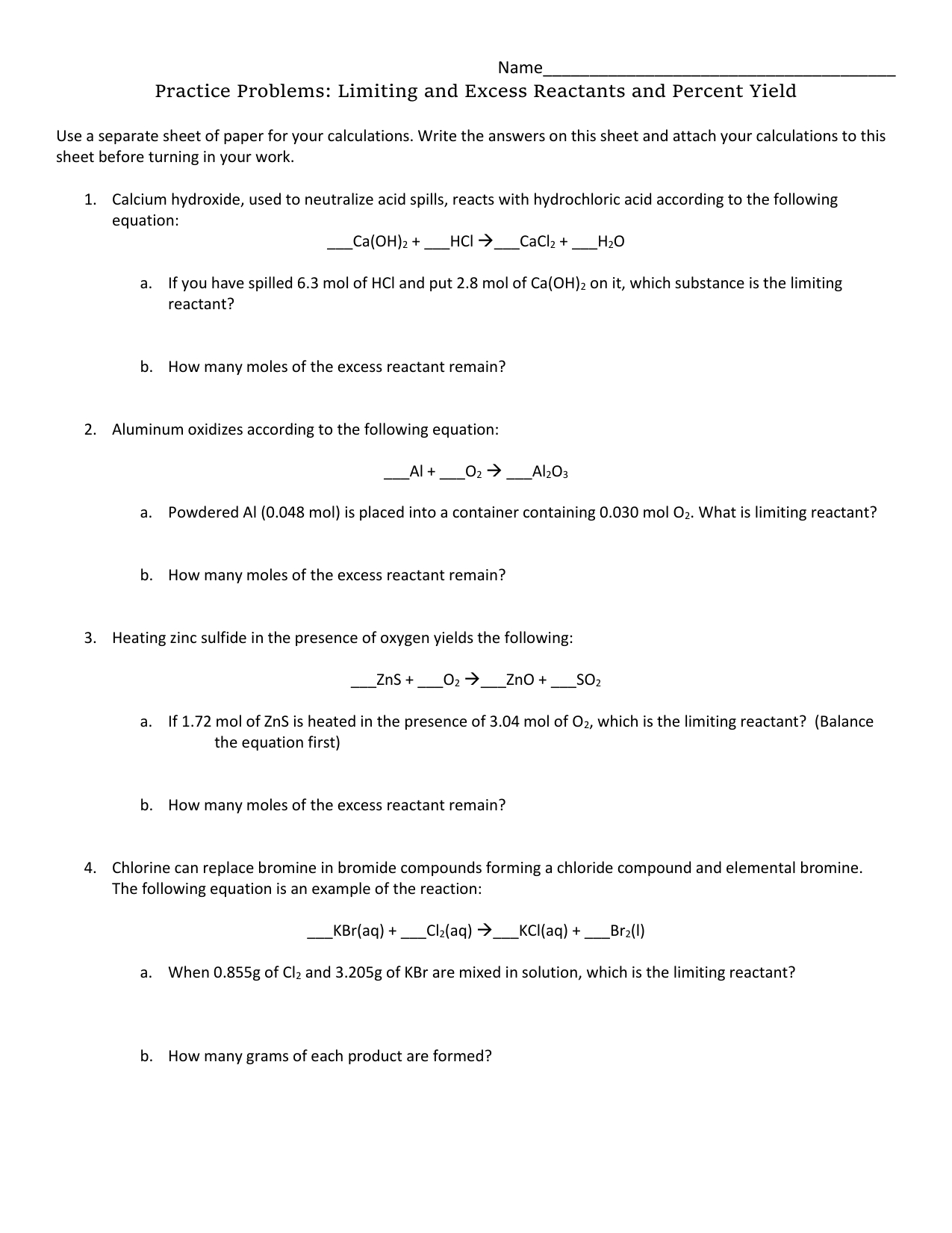 Limiting Reactant And Percent Yield Worksheets