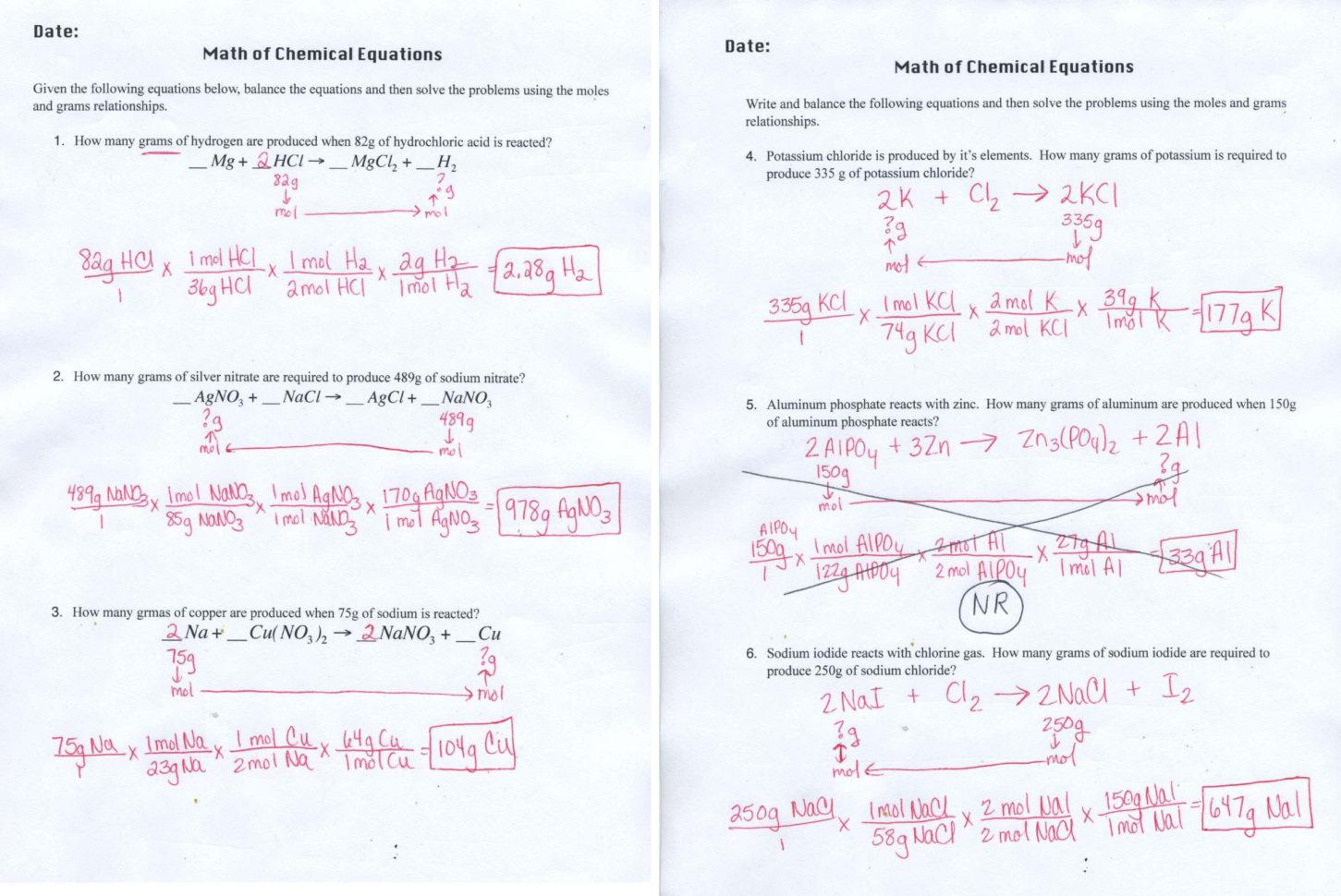 Limiting Reagent Worksheet Worksheet Idea