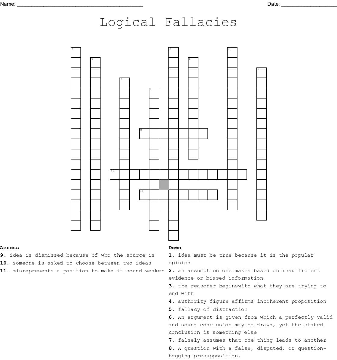 Logical Fallacies Worksheet With Answers