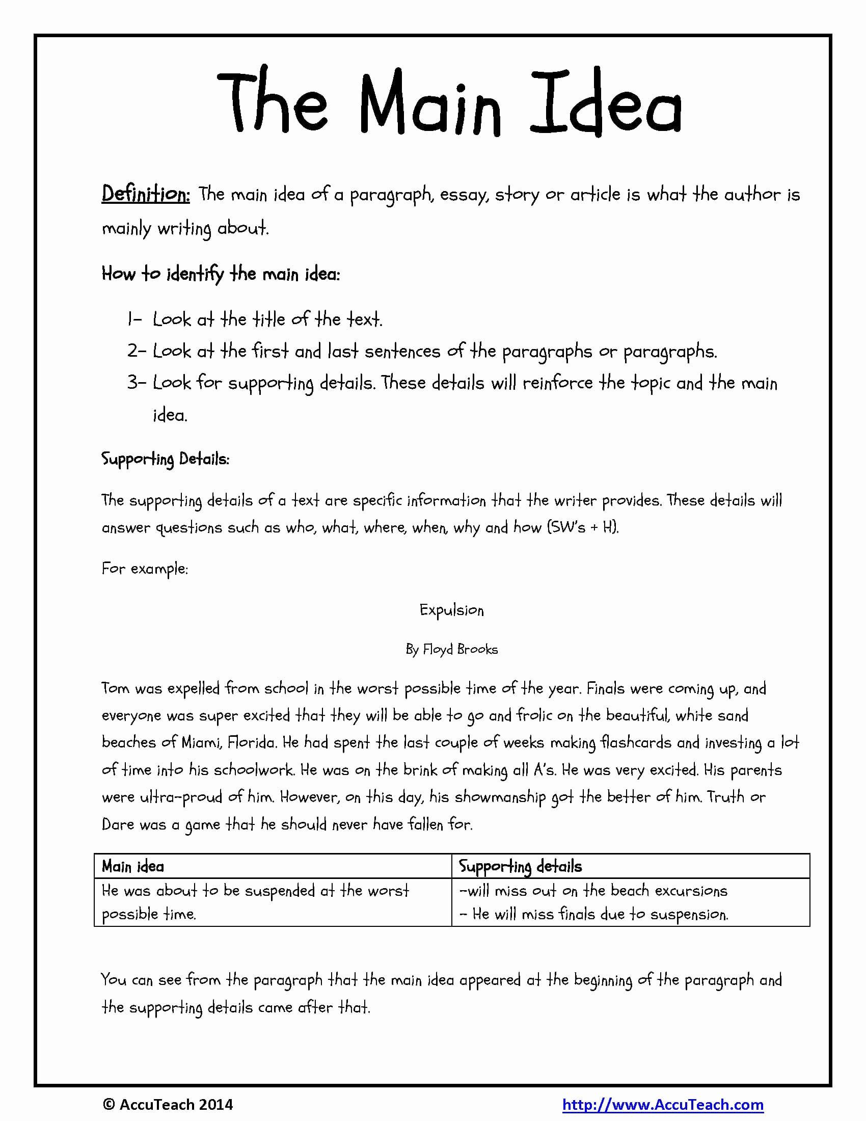 Main Idea Worksheets 2nd Grade To Download Math Worksheet