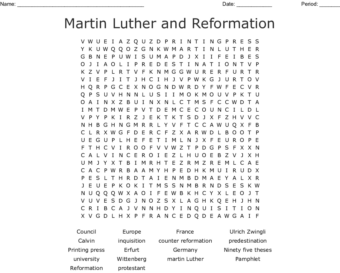 Martin Luther And Reformation Word Search Word