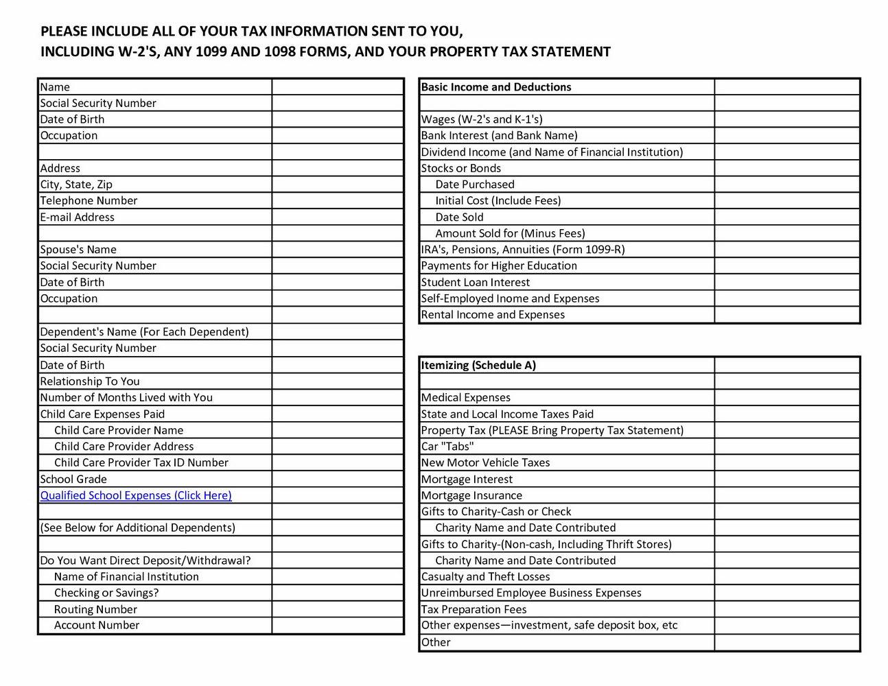 Income Tax Preparation Worksheet