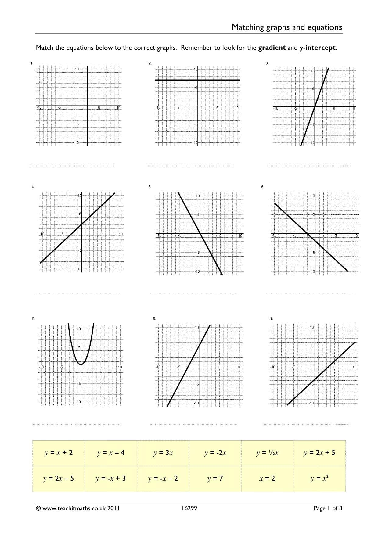 Matching Equations And Graphs Worksheet Answers Db Excel
