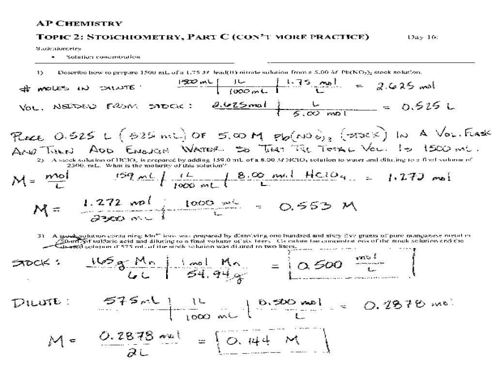Math Chemistry Worksheets For High School Basic Chemistry