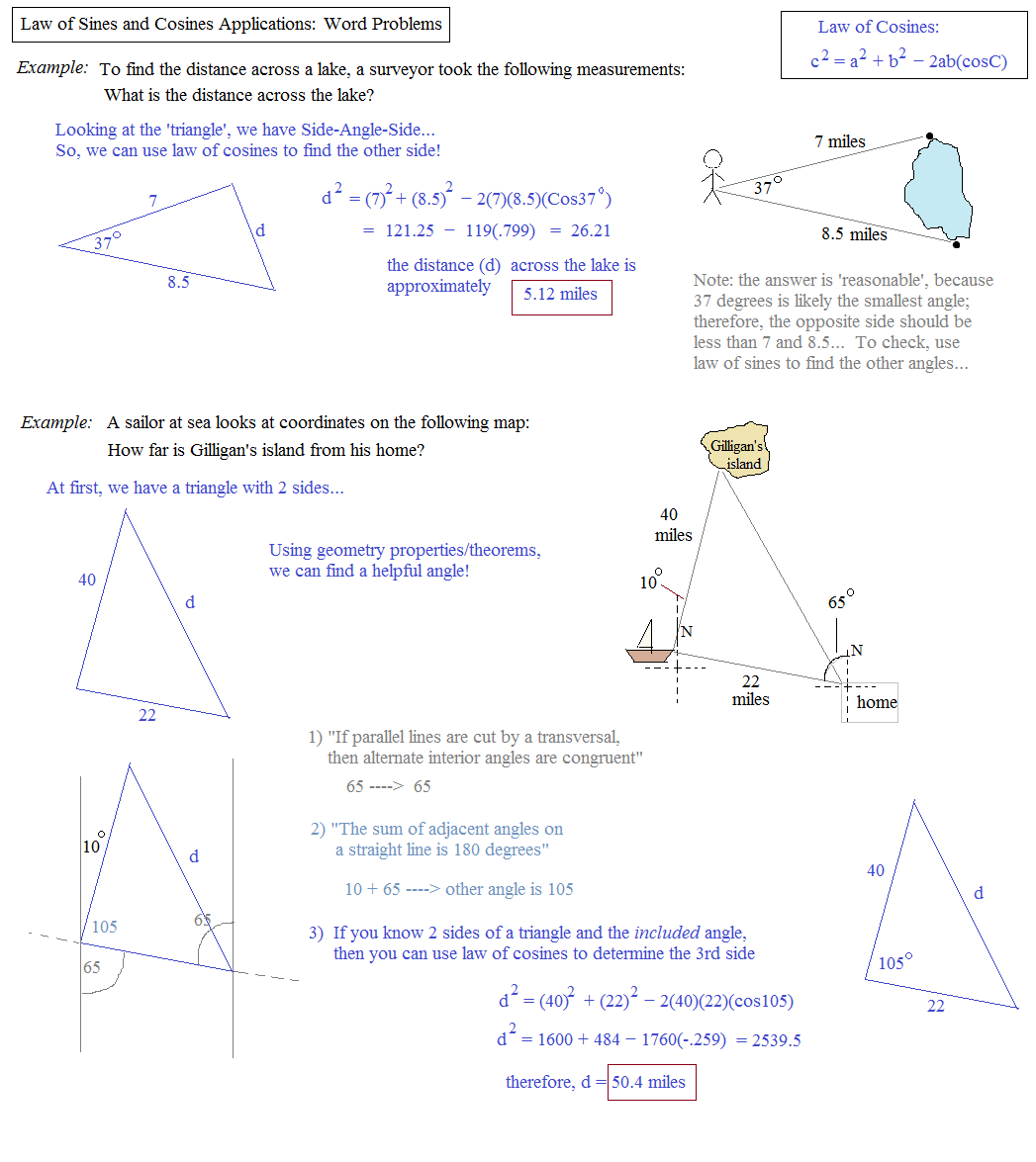 Law Of Sines And Cosines Word Problems Worksheet With