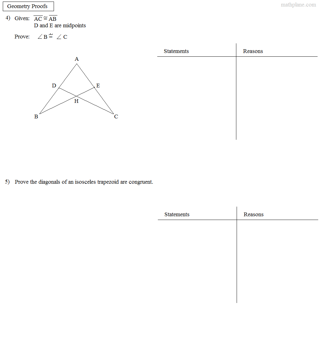 Math Plane Proofs Postulates 1 Worksheet