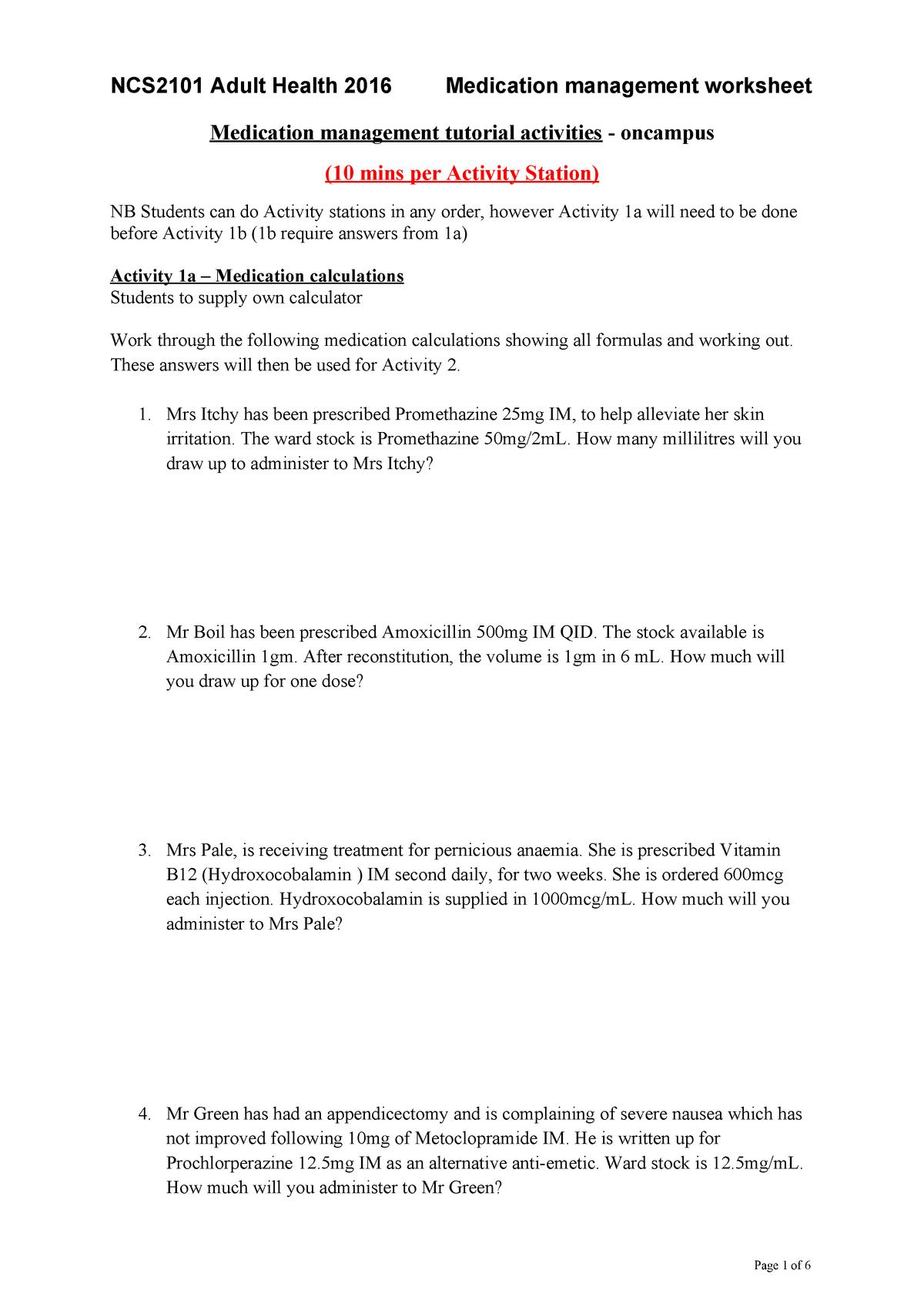 Medication Management Worksheet Oncampus Students