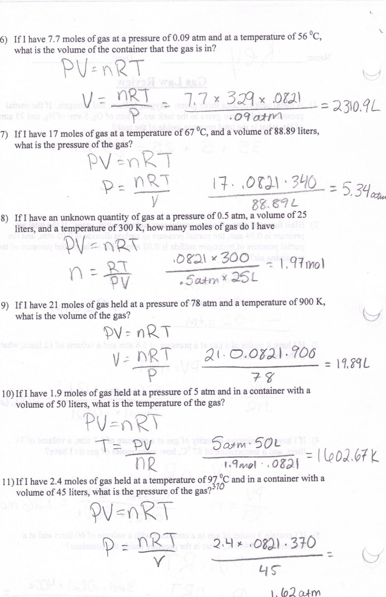 Mixed Gas Laws Worksheet Answers