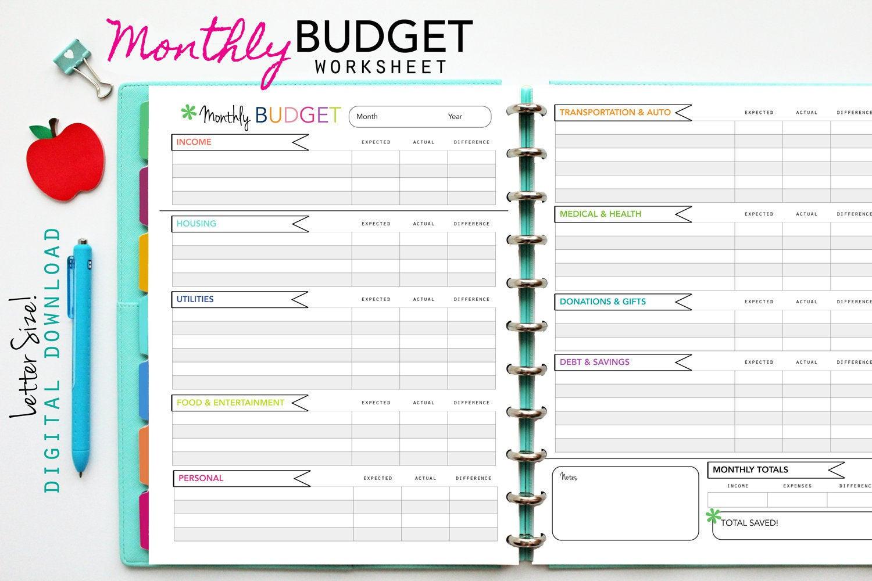 Monthly Budget Worksheet Printable