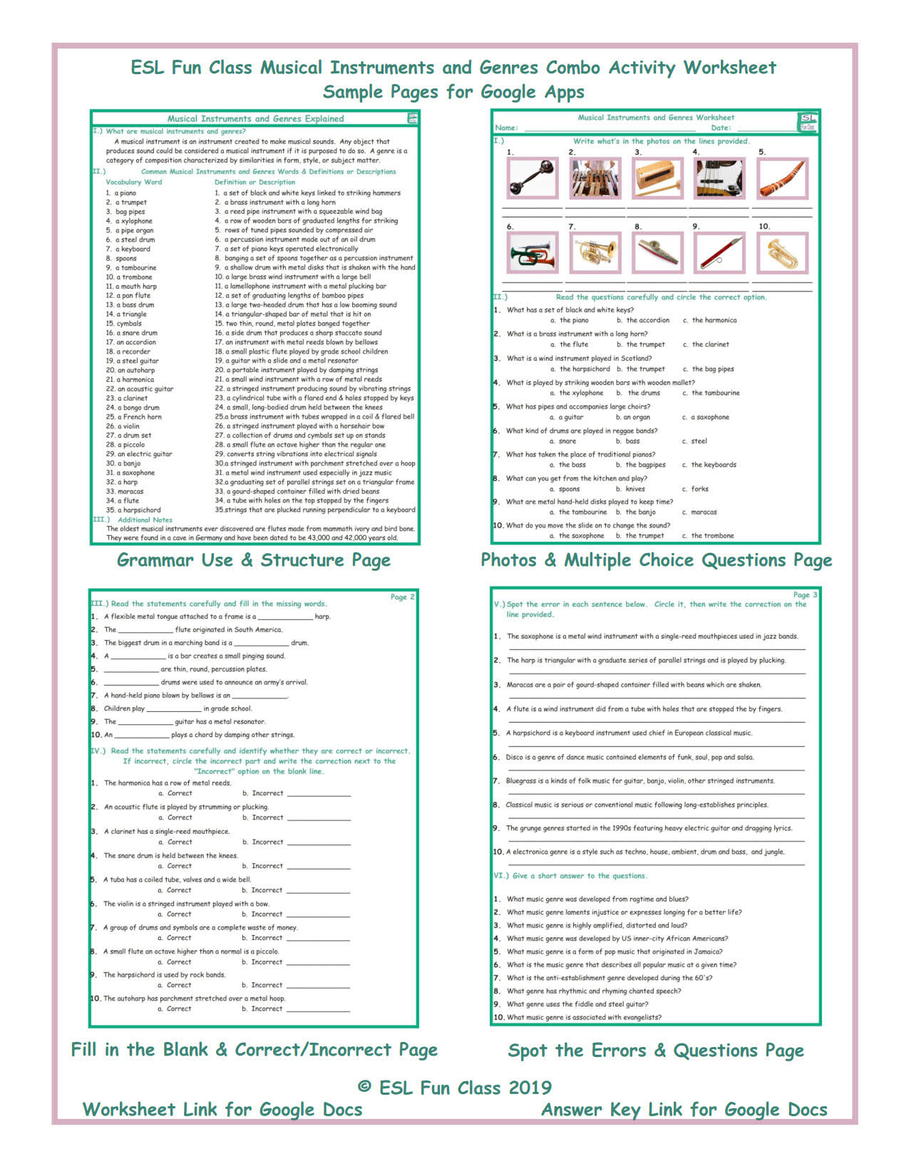 Musical Instruments And Genres Interactive Worksheets For