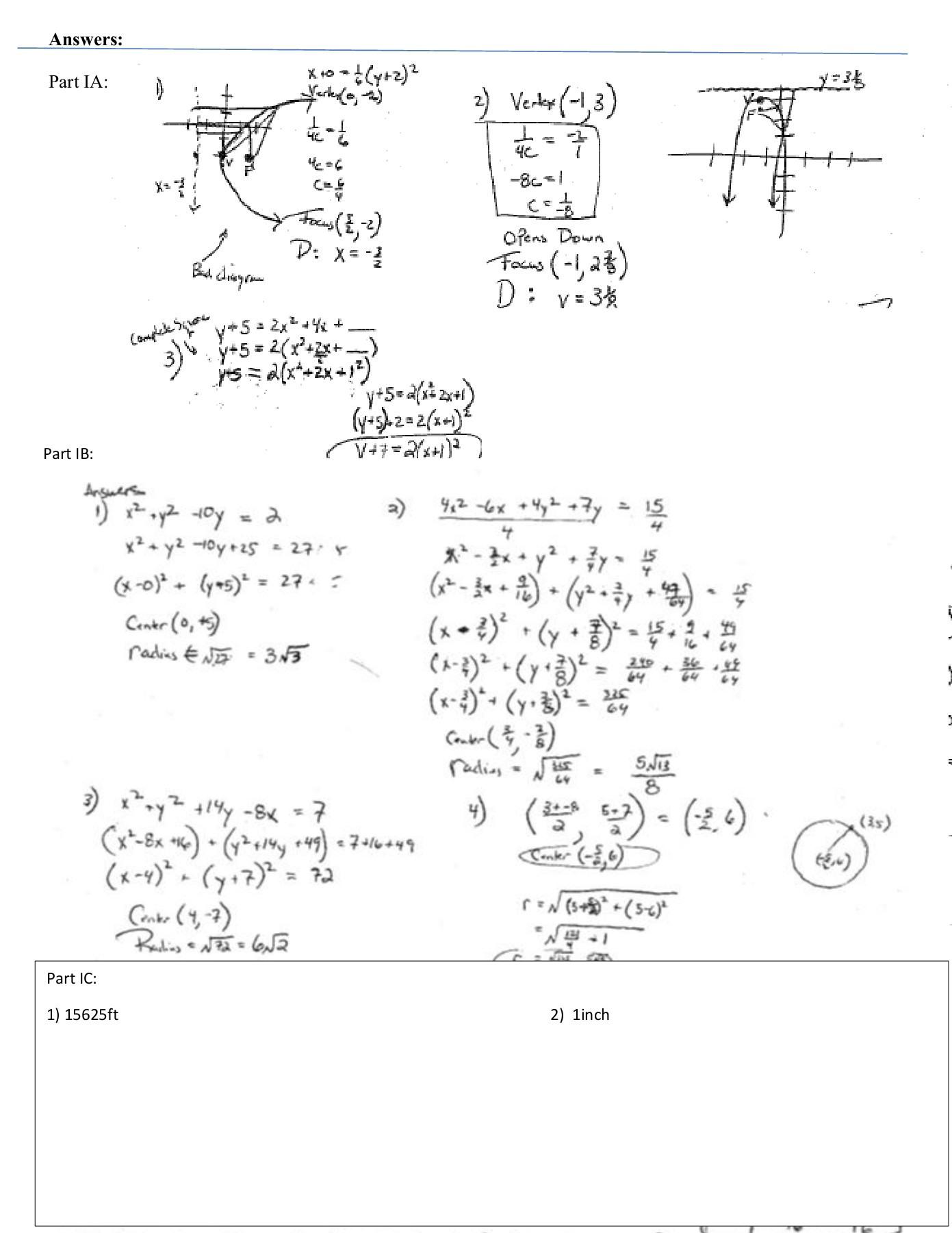 Circles Worksheet Answers