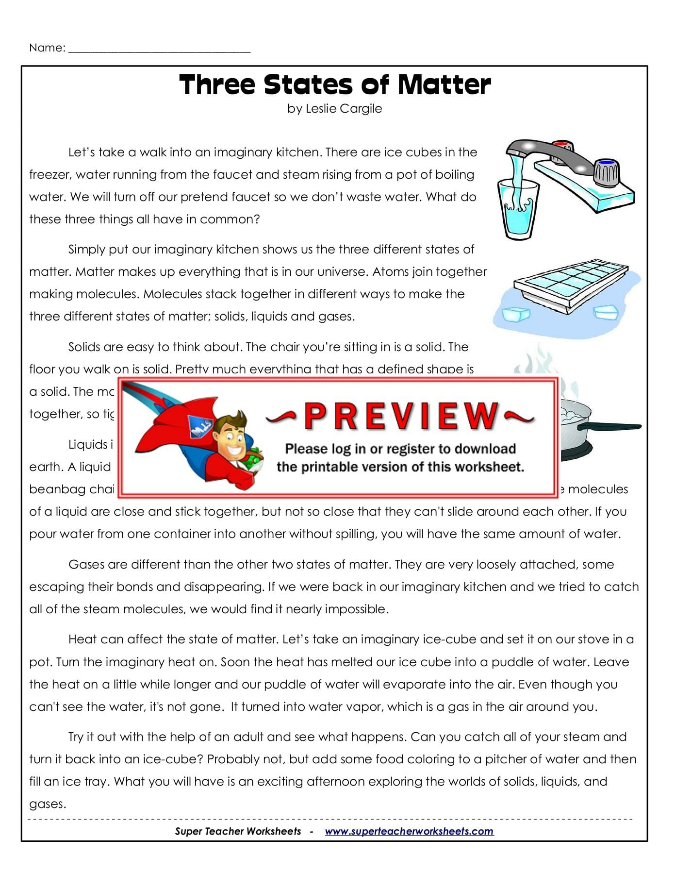 Name Three States Of Matter Super Teacher Worksheets