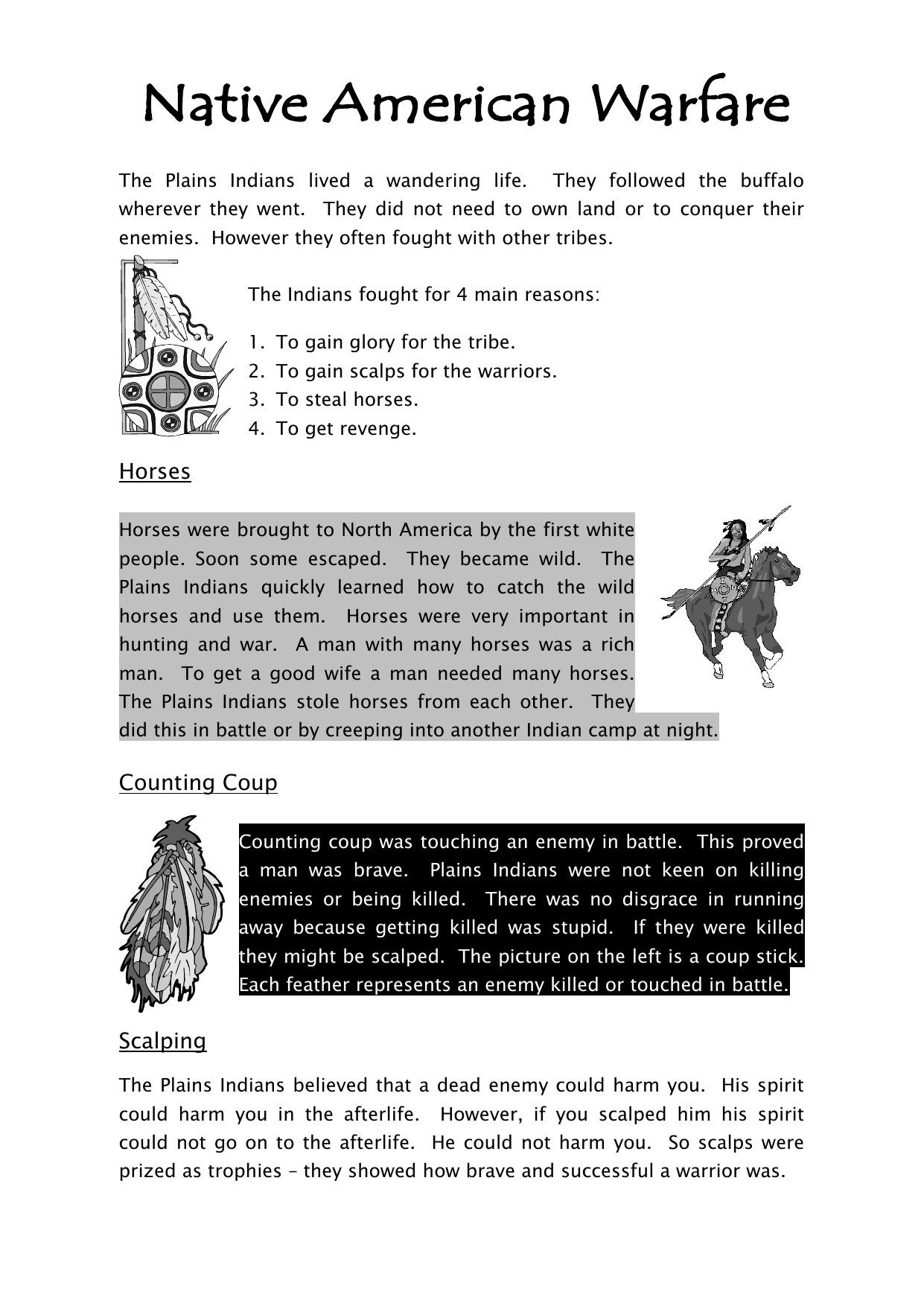 Native American Rfare Worksheet History Resources